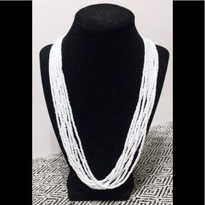 VTG multi-strand Trifari, white beads, 24""